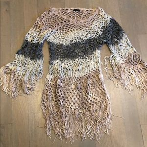 T Party Crochet Sweater with Fringes